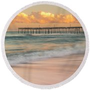 Rodanthe Fishing Pier Sunset On The Outer Banks In Carolina Panorama Round Beach Towel