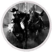 Rodeo In Black Round Beach Towel