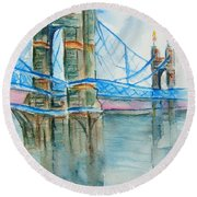Roebling On The Ohio River Round Beach Towel