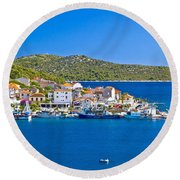 Rogoznica Harbor And Waterfront View Round Beach Towel