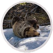 Roll In The Snow Round Beach Towel