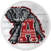 Roll Tide Alabama Crimson Tide Recycled State License Plate Art Round Beach Towel
