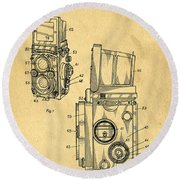 Rolleiflex Medium Format Twin Lens Reflex Tlr Patent Round Beach Towel