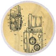 Rolleiflex Medium Format Twin Lens Reflex Tlr Patent Round Beach Towel by Edward Fielding