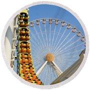Roller Coaster And Ferris Wheel Round Beach Towel