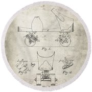 Roller Skate Patent - Patent Drawing For The 1882 F. A. Combes Roller Skate Round Beach Towel