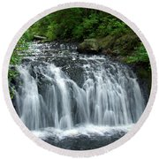 Rolley Lake Falls Dry Brushed Round Beach Towel