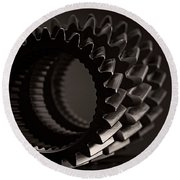 Rollin' Gears Black And White Round Beach Towel