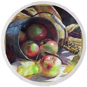 Rolling Apples Round Beach Towel