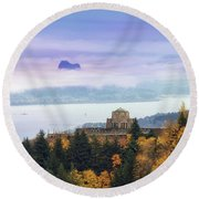 Rolling Fog At Columbia River Gorge In Fall Round Beach Towel