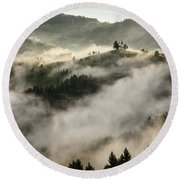 Rolling Fog At Sunrise In The Skofjelosko Hribovje Hills With St Round Beach Towel