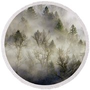 Rolling Fog In Sandy River Valley Round Beach Towel