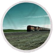 Rolling Freight Train Round Beach Towel