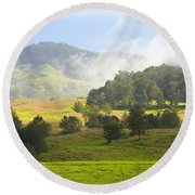 Rolling Green Hills Round Beach Towel