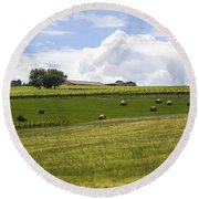 Rolling Green Hills With Trees Round Beach Towel