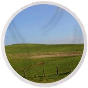 Rolling Hills And Fields Along The Cliff's Of Moher Round Beach Towel