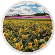 Rolling Hills Of Flowers In Summer Round Beach Towel