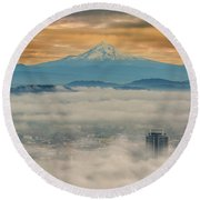 Rolling Low Fog Over City Of Portland Round Beach Towel
