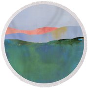 Rolling Mountains Round Beach Towel