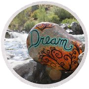 Rolling Water Dreams Round Beach Towel