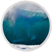 Rolling  Wave At Haleiwa Round Beach Towel