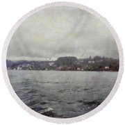 Rolling Waves In A Swiss Lake Round Beach Towel
