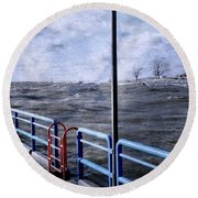 Rolling Waves In Winter At Grand Haven Round Beach Towel