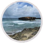 Rolling Waves On The Beach Known As Boca Keto Round Beach Towel