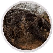 Rolls Of Barbed Wire Round Beach Towel