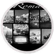 Roma Black And White Poster Round Beach Towel