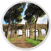 Roman Aqueducts Round Beach Towel