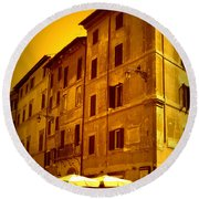 Roman Cafe With Golden Sepia 2 Round Beach Towel