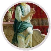 Roman Girl Round Beach Towel