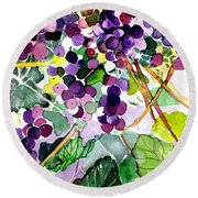Roman Grapes Round Beach Towel