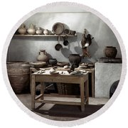 Roman Kitchen, 100 A.d Round Beach Towel