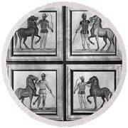 Roman Mosaic: Charioteers Round Beach Towel