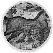 Roman Mosaic: Man & Horse Round Beach Towel