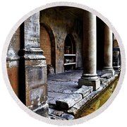 Roman Pillars  Round Beach Towel