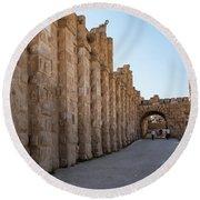 Roman Ruins At Jerash, Jordan  Round Beach Towel