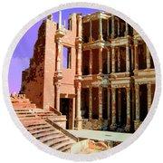 Roman Ruins At Sabrayha Round Beach Towel