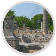 Roman Ruins Near St. Remy In Provence Round Beach Towel