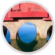 Roman Style Bridge On Red Sea Round Beach Towel