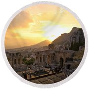 Roman Theater In Taormina IIi Round Beach Towel