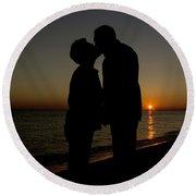 Romance On The Beach Round Beach Towel