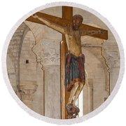 Romanesque Abbey Crucifix Round Beach Towel