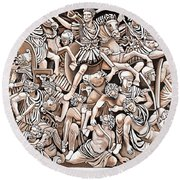 Romans And Barbarians Round Beach Towel
