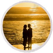 Romantic Beach Silhouette Round Beach Towel