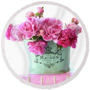 Paris Red Pink Peonies Maison Flowers Pink Book - French Aqua Pink Peonies Books Wall Decor Round Beach Towel