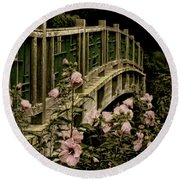 Romantic Garden And Bridge Round Beach Towel