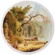 Romantic Garden Scene Round Beach Towel by Hubert Robert